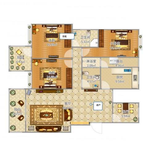 新都华城2室2厅2卫1厨174.00㎡户型图