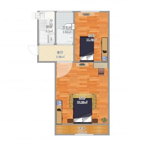 真北二街坊2室1厅1卫1厨66.00㎡户型图