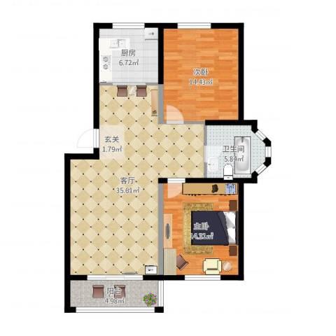 盛世郦都2室1厅1卫1厨102.00㎡户型图