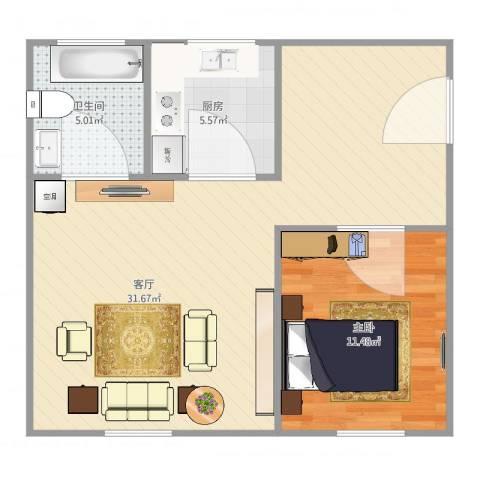 管弄小区1室1厅1卫1厨72.00㎡户型图