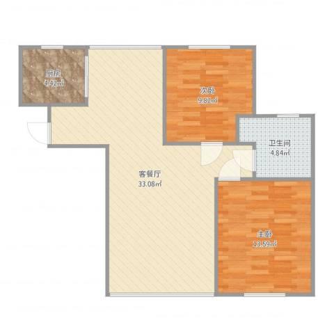 金石滩度假公园2室2厅1卫1厨82.00㎡户型图