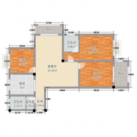 幸福华城3室4厅2卫1厨143.00㎡户型图