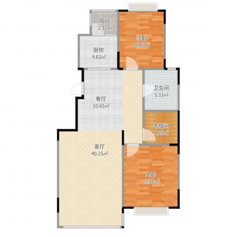 天安第一城2室1厅1卫1厨80.07㎡户型图