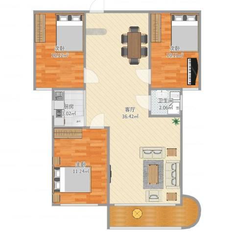 幸福花园3室1厅1卫1厨98.00㎡户型图
