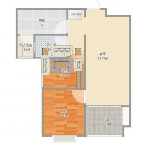 恒大城2室1厅1卫1厨76.00㎡户型图