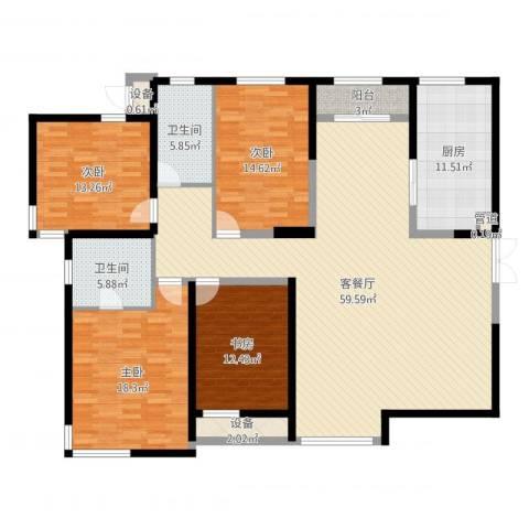 白桦林间4室2厅2卫1厨184.00㎡户型图