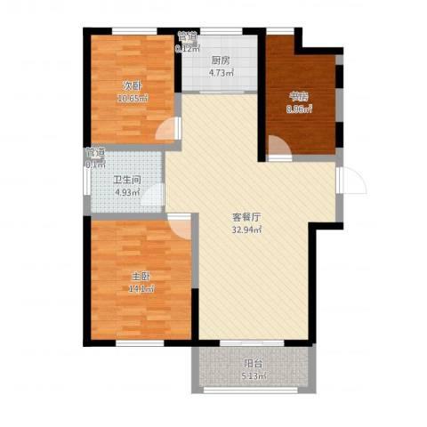 诚德盛世原著3室2厅3卫1厨102.00㎡户型图