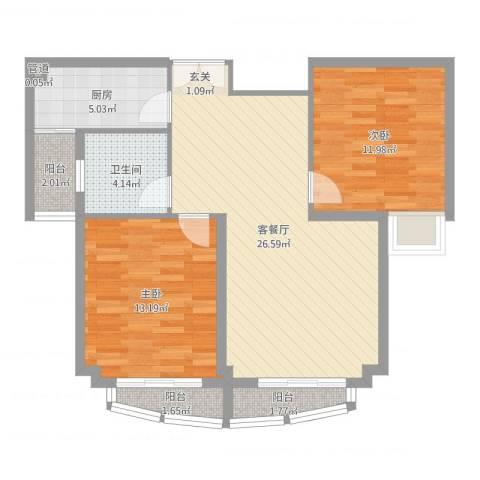 翠湖天地2室2厅1卫1厨83.00㎡户型图
