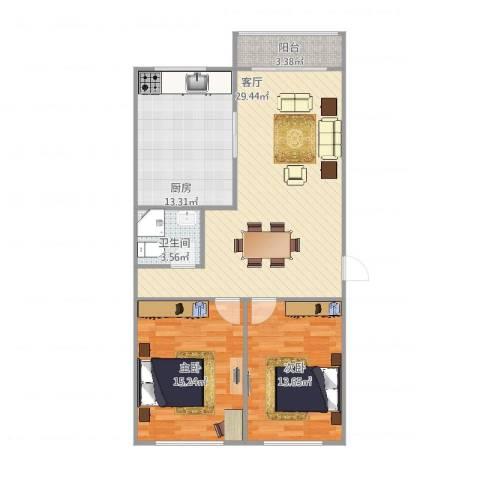 梅花苑2室1厅1卫1厨105.00㎡户型图