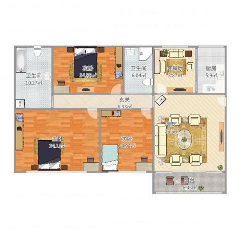 三泉家园64号3室3厅2卫1厨132.00㎡户型图
