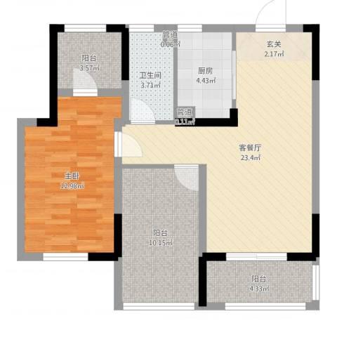 昆山观湖壹号1室2厅1卫1厨78.00㎡户型图