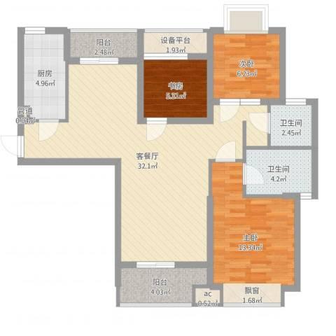 听涛观海龙台3室2厅2卫1厨97.00㎡户型图