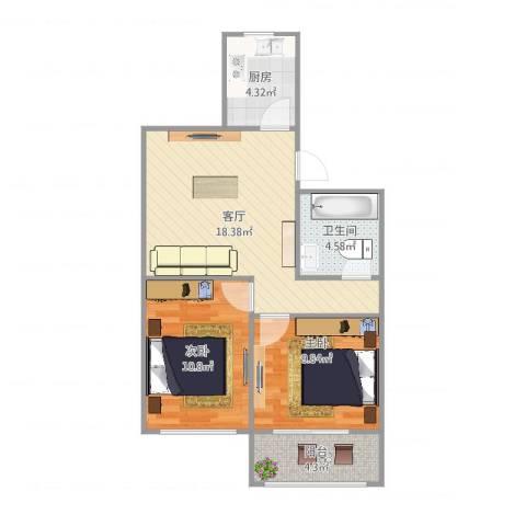 鹏海西区2室1厅1卫1厨71.00㎡户型图