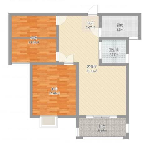 众兴・嘉城2室2厅1卫1厨97.00㎡户型图