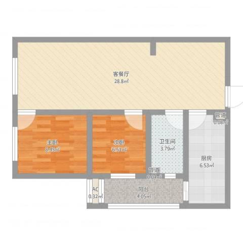 高新大都荟2室2厅1卫1厨73.00㎡户型图