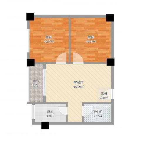 翠月嘉苑2室2厅1卫1厨66.00㎡户型图