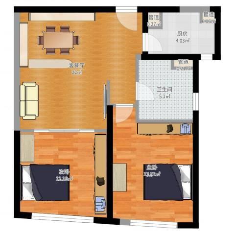 香梅花园五期2室2厅1卫1厨72.00㎡户型图