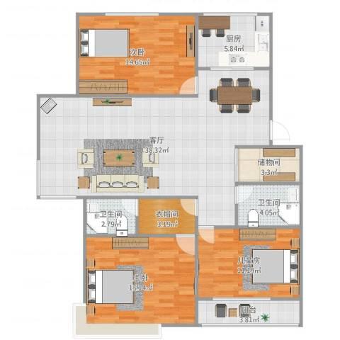 月桂庄园别墅3室1厅2卫1厨138.00㎡户型图