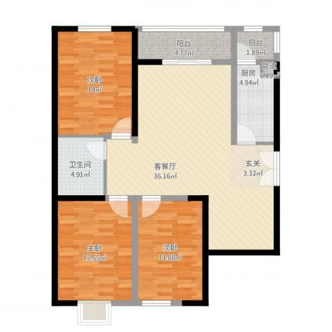 太原奥林匹克花园3室2厅1卫1厨132.00㎡户型图