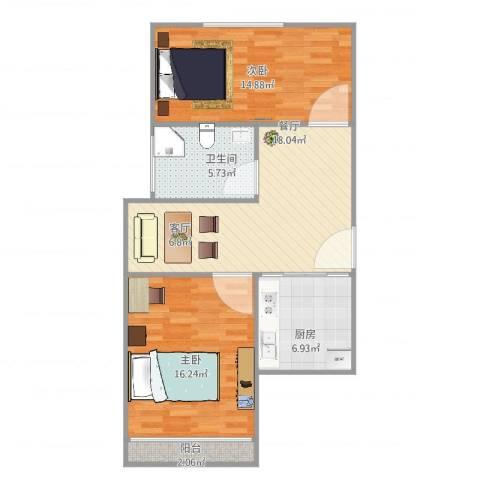 昌五小区2室1厅1卫1厨86.00㎡户型图