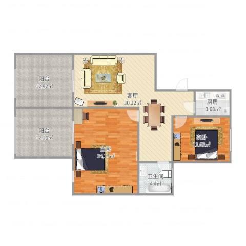 瀚龙苑2室1厅1卫1厨131.00㎡户型图