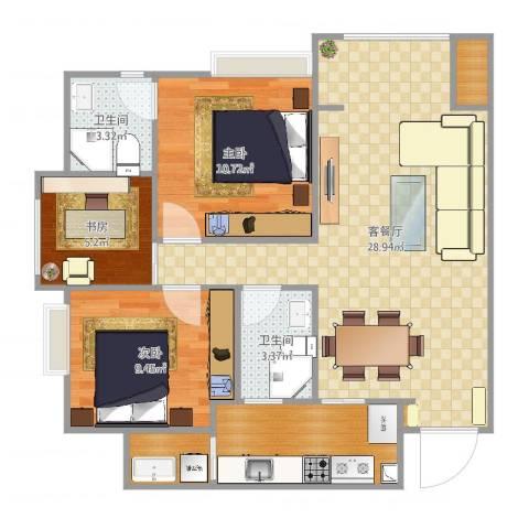 城南未来3室2厅5卫1厨88.00㎡户型图