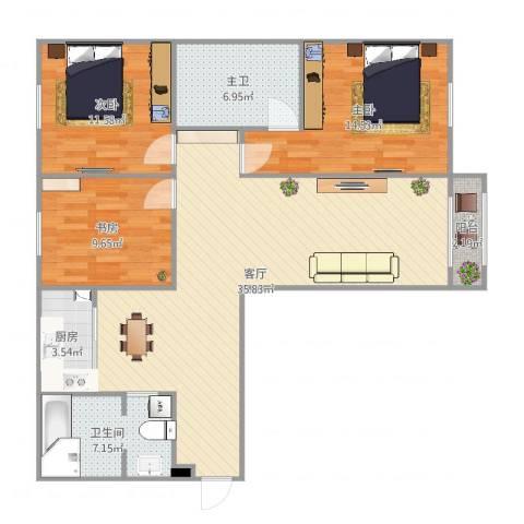 新世纪花园3室1厅2卫1厨114.00㎡户型图