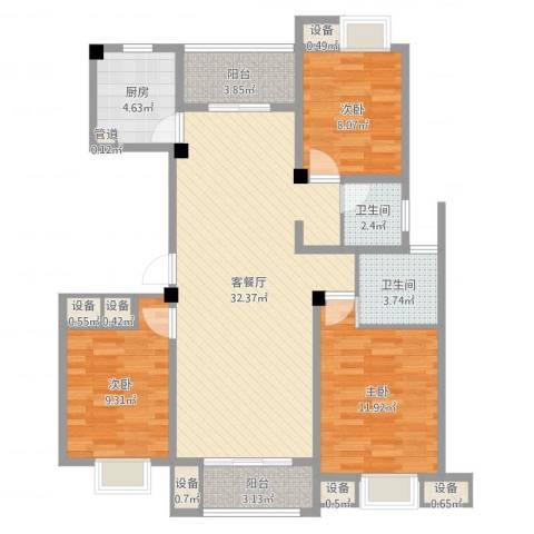 明鸿春晓3室2厅2卫1厨104.00㎡户型图