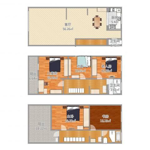 锦秋花园别墅5室1厅2卫1厨248.00㎡户型图