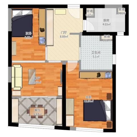 香梅花园五期2室2厅4卫1厨71.00㎡户型图