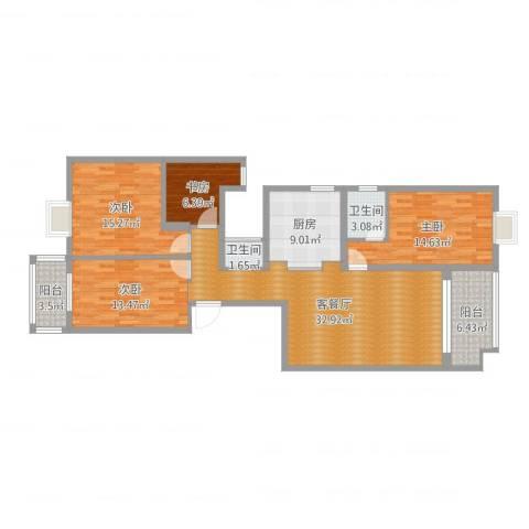 山水霖城4室2厅2卫1厨133.00㎡户型图