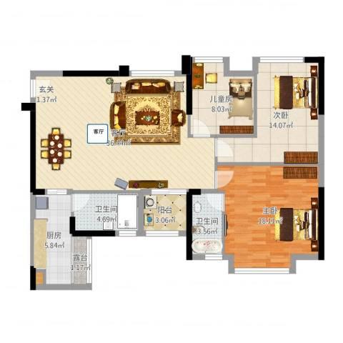 万象凯旋湾3室1厅2卫1厨119.00㎡户型图