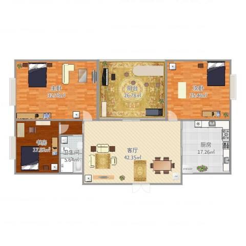 振业山水名城3室1厅1卫1厨168.04㎡户型图