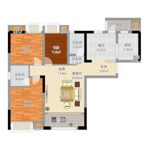 海怡天西城华府3室2厅2卫1厨111.00㎡户型图
