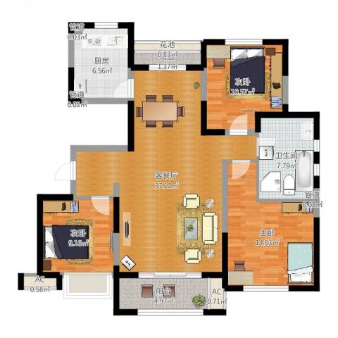 远洋香奈3室2厅1卫1厨118.00㎡户型图