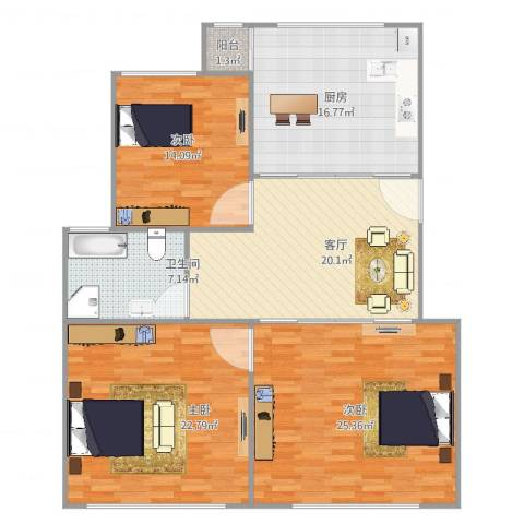 东方汇景苑3室1厅1卫1厨142.00㎡户型图