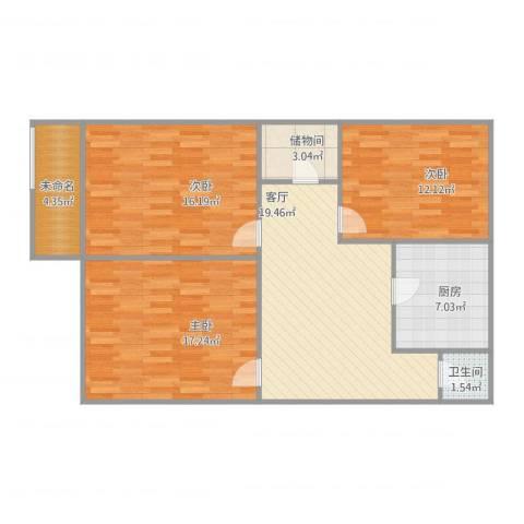 北坦小区3室1厅1卫1厨109.00㎡户型图