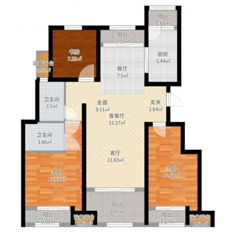 创想凯旋湾3室2厅2卫1厨118.00㎡户型图