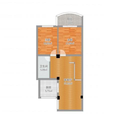 广安小区2室2厅1卫1厨84.00㎡户型图