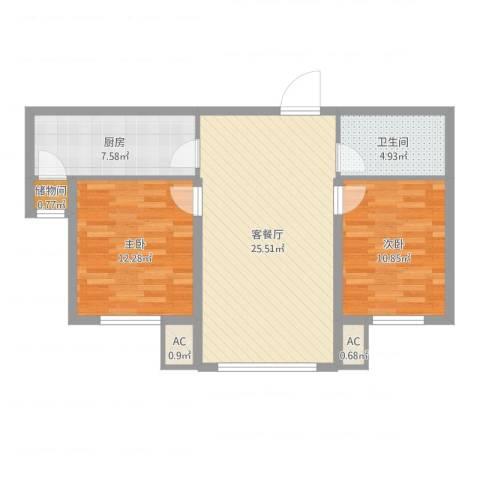 威廉公馆2室2厅1卫1厨79.00㎡户型图