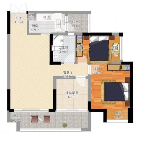 光耀・橙子2室2厅1卫1厨102.00㎡户型图