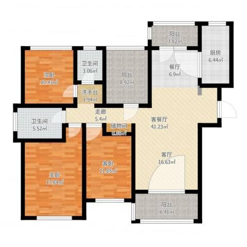 金域华府3室2厅2卫1厨144.00㎡户型图