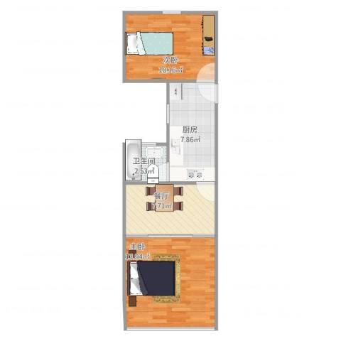 宜川五村42-5052室1厅1卫1厨57.00㎡户型图