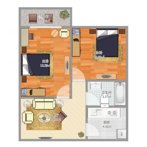 永清二村2室1厅1卫1厨54.00㎡户型图