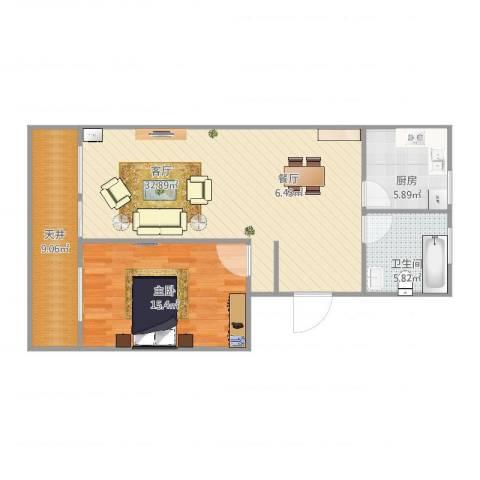 建业新村1室1厅1卫1厨92.00㎡户型图