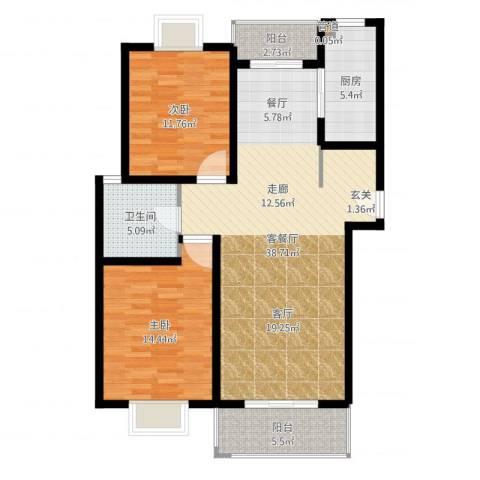 多摩远景2室2厅1卫1厨105.00㎡户型图