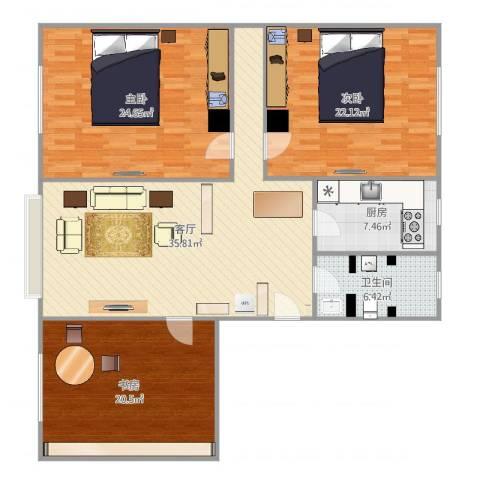 碧海云天3室1厅1卫1厨146.00㎡户型图