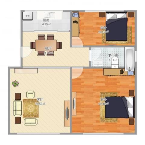 北九峰小区2室2厅1卫1厨89.00㎡户型图