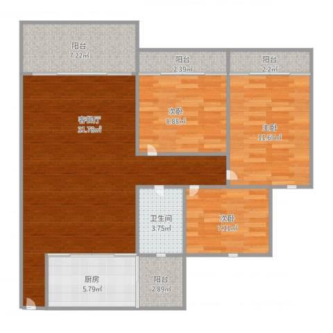 康格斯花园3室2厅1卫1厨114.00㎡户型图