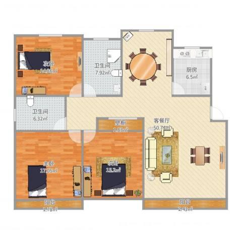 龙柏一村3室2厅2卫1厨167.00㎡户型图
